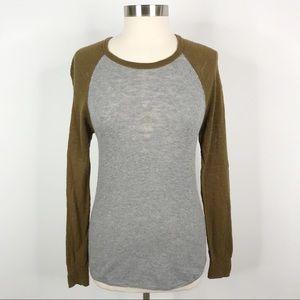 Madewell Color Block Raglan Sweater Gray Green M